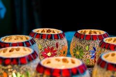 Bougie colorée lumineuse votive Photo stock
