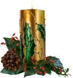Bougie décorative de Noël Photographie stock libre de droits