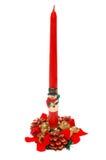 Bougie décorative de Noël sur le blanc Images libres de droits