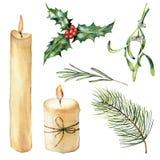 Bougie d'aquarelle avec l'ensemble de décor Bougie peinte à la main, houx, romarin de gui, branche d'arbre de Noël d'isolement de Image stock