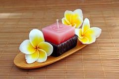 Bougie d'Aromatherapy avec la fleur fraîche de frangipani Image libre de droits
