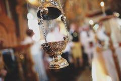 Bougie dans l'église Photographie stock