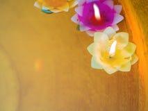 Bougie dans le flottement coloré de supports de fleurs Photographie stock