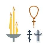 Bougie de Chrch et vecteur d'icônes de religion Images libres de droits