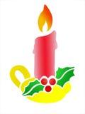 Bougie de Noël avec le houx Photographie stock libre de droits