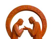Bougie et amour oranges Photographie stock libre de droits
