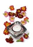 Bougie et fleurs parfumées Photographie stock