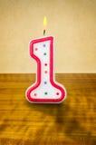 Bougie numéro 1 d'anniversaire illustration stock
