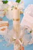 Bougie pour la première communion sainte Photographie stock