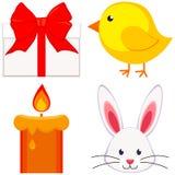 Bougie réglée de visage de lapin de poussin de poulet d'icône de Pâques de bande dessinée, boîte-cadeau illustration de vecteur