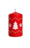 Bougie rouge avec le sapin d'isolement Image stock