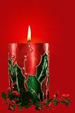 Bougie rouge de Noël Photographie stock libre de droits