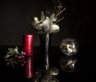Bougie rouge de Noël Photos libres de droits