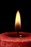 Bougie rouge, mèche Image libre de droits