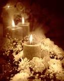 Bougie sur le fond floral Image stock