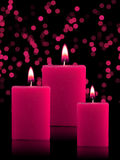 Bougies allumées de Noël Image stock