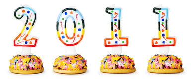 Bougies avec 2010 ans d'isolement Images stock