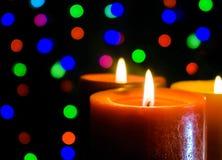 Bougies avec le fond de Bokeh Images libres de droits