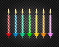 Bougies avec les flammes brûlantes de la paraffine de cire Bougies de g?teau d'anniversaire Illustration courante de vecteur illustration stock