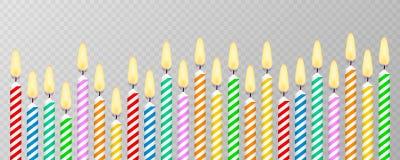 Bougies avec les flammes brûlantes de la paraffine de cire Bougies de g?teau d'anniversaire Illustration courante de vecteur illustration de vecteur