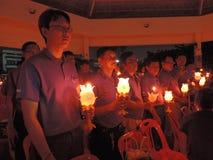 Bougies bénies au bhumibol de roi, Thaïlande Photographie stock libre de droits
