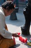 Bougies bouddhistes Images libres de droits