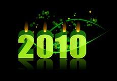 Bougies brûlantes de l'an neuf heureux 2010 ! Photographie stock