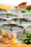 Bougies brûlantes de lumière de thé Photos stock