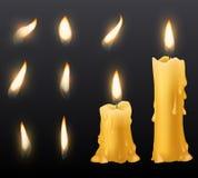 Bougies brûlantes Les bougies brûlantes de cire romantique de vacances allument la fin vers le haut de la décoration chaude de dî illustration de vecteur