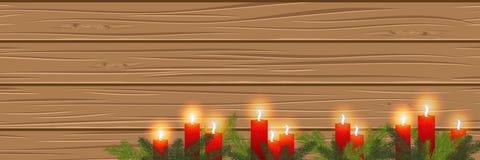 Bougies brûlantes sur un fond en bois cosiness Panorama illustration stock