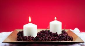 Bougies brûlantes pour Noël Photos libres de droits