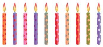 Bougies colorées d'anniversaire Images libres de droits