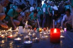 Bougies comme protestation en Majorque photographie stock libre de droits