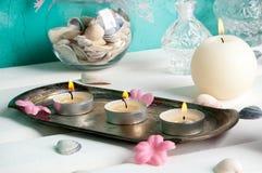 Bougies crèmes d'arome Photos libres de droits