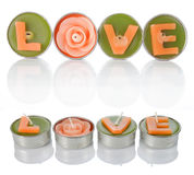 Bougies d'amour Photos libres de droits
