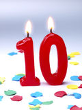 Bougies d'anniversaire affichant Nr. 10 Photo libre de droits