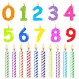 Bougies d'anniversaire de forme différente Photographie stock libre de droits