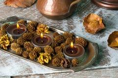 Bougies d'arome de Brown Images stock