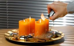 Bougies d'arrivée d'éclairage Photo stock
