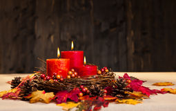Bougies d'automne Photographie stock libre de droits