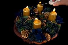 Bougies d'avènement de foudre Photo stock