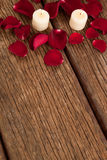 Bougies de cire entourées avec des pétales de rose Images libres de droits