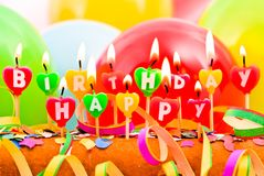 Bougies de joyeux anniversaire Images libres de droits