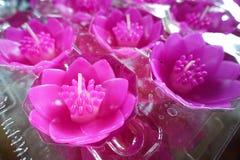 Bougies de Lotus dans un temple bouddhiste Image stock