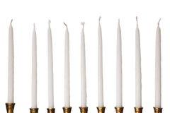 Bougies de menorah de Hanukkah d'isolement Photos libres de droits