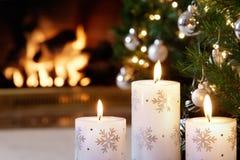 Bougies de Noël blanc Photo libre de droits
