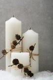 Bougies de Noël blanc photos stock