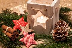 Bougies de Noël de la table decoration Photos stock
