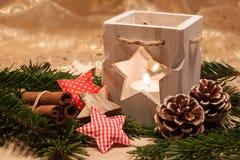 Bougies de Noël de la table decoration Photos libres de droits