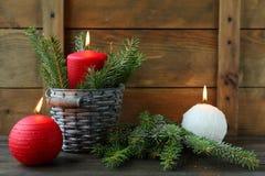 Bougies de Noël rouge et blanc photo stock